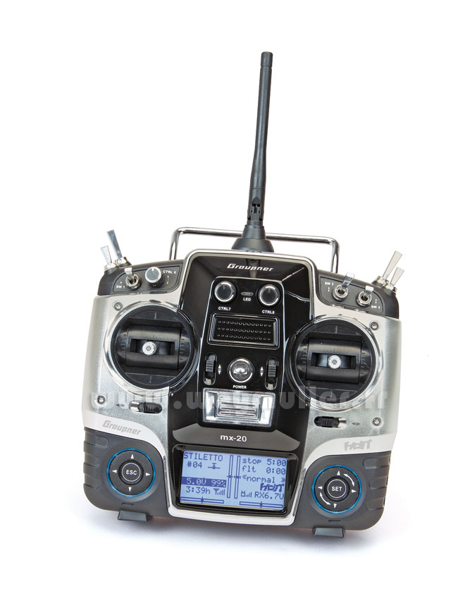 Radio Graupner MX20 2,4GHz HoTT 12/8/0 accus Tx
