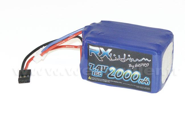 Accu Lipo 7,4V 2000mA prise Graupner / hitec