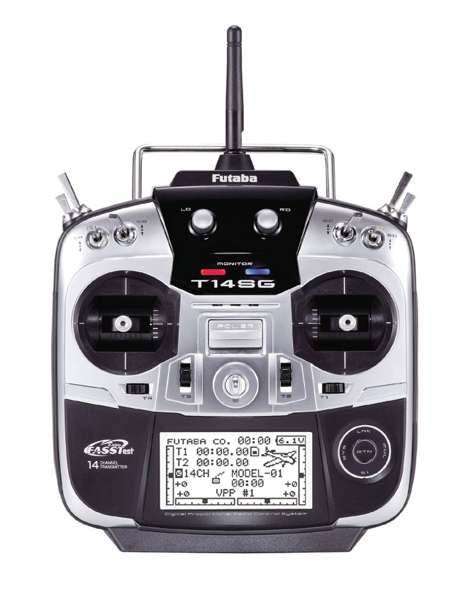 Radio Futaba T14SG 2,4GHz 14/8/0 accu Tx + chargeur Tx. Mode 1