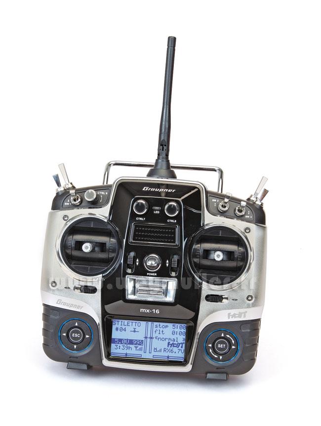 Radio Graupner MX16 V2 2,4GHz HoTT 8/8/0 accus Tx