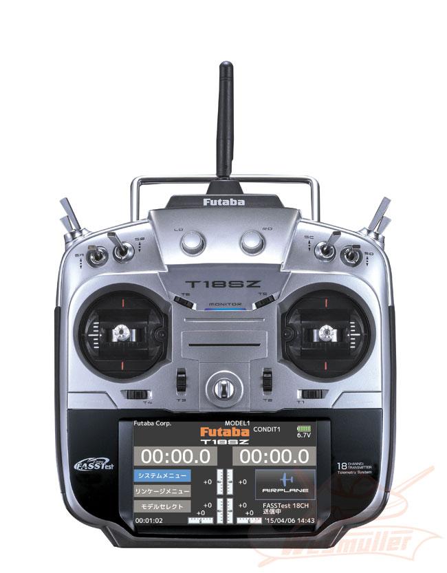 Radio Futaba 18SZ 2,4GHz 18/8/0 accu Tx + chargeur Tx. Mode 1 + 1 récepteur R7008SB