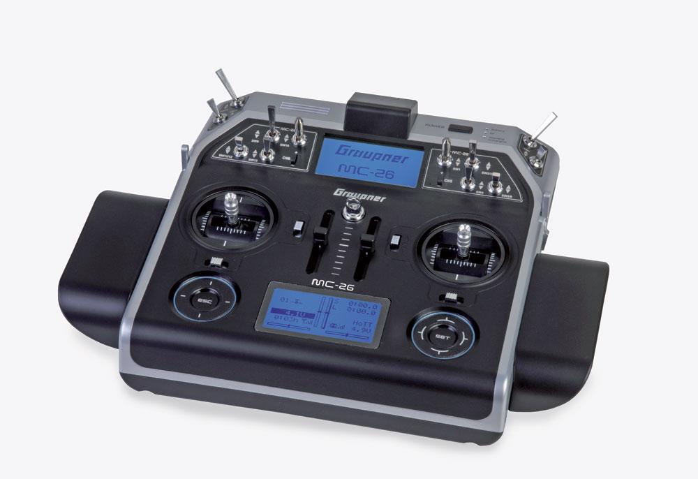 Radio Graupner MC26 2,4GHz HoTT 16/12/0 accus Tx + valise HoTT