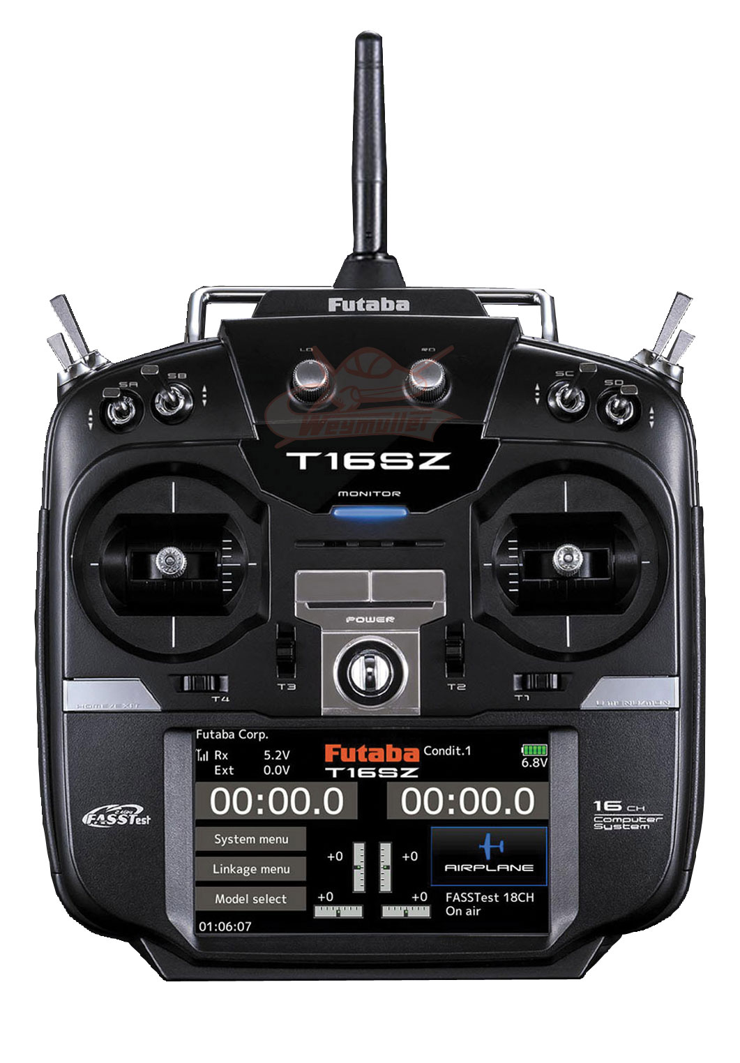 Radio Futaba 16SZ 2,4GHz 16/8/0 accu Tx + chargeur Tx. Mode 1