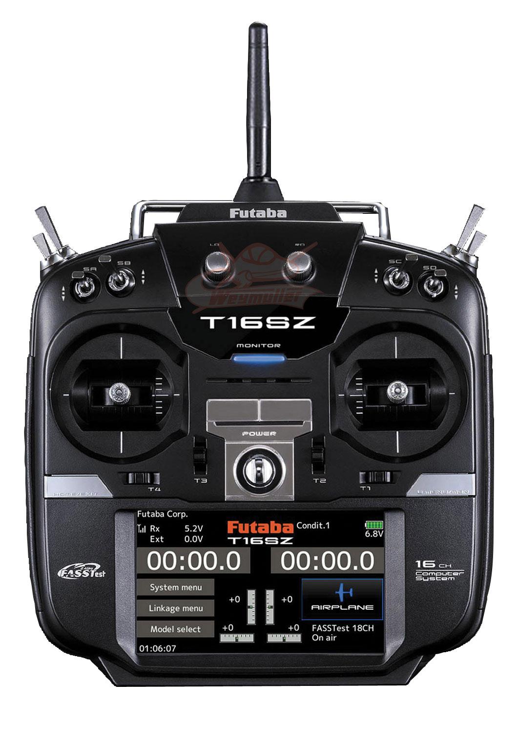 Radio Futaba 16SZ POTLESS 2,4GHz 16/8/0 accu Tx + chargeur Tx. Mode 1